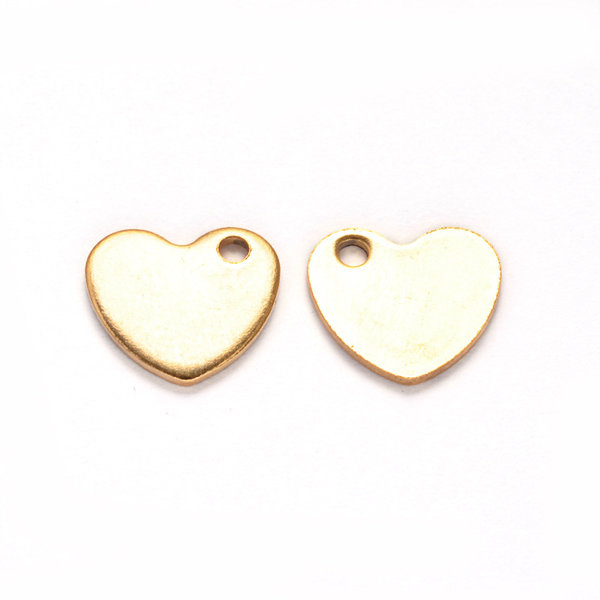4 pieces Stainless Steel Heart Charm 9x10mm Golden