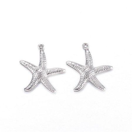 3 pieces Stainless Steel Starfish Charm 22x21mm Silver