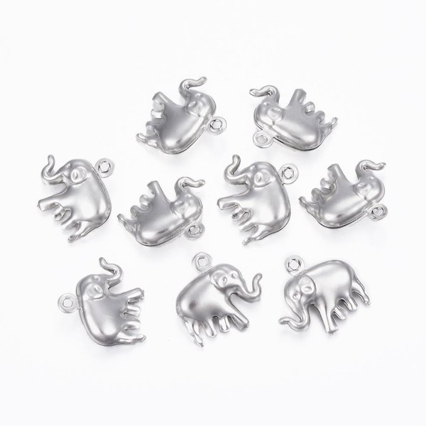3 pieces Stainless Steel Elephant Charm14x15mm Silver