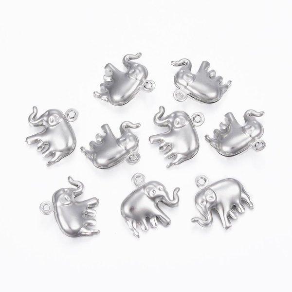3 stuks Stainless Olifant Bedel 14x15mm Zilver