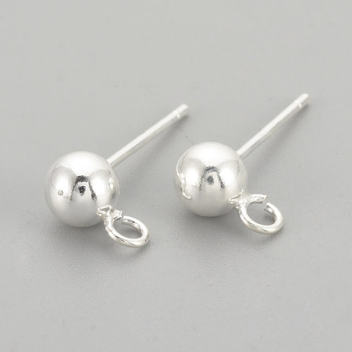 4 pieces 925 Sterling Silver Earring Studs 14mm