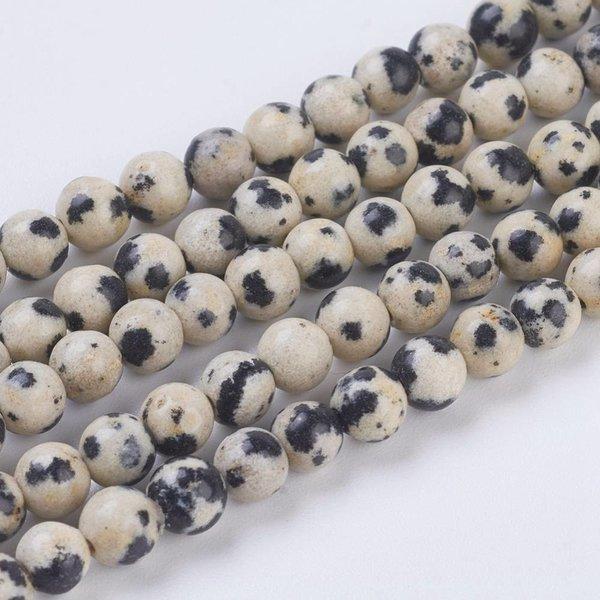 Natural Dalmatiër Jaspis Kralen 8mm, streng van 22 stuks