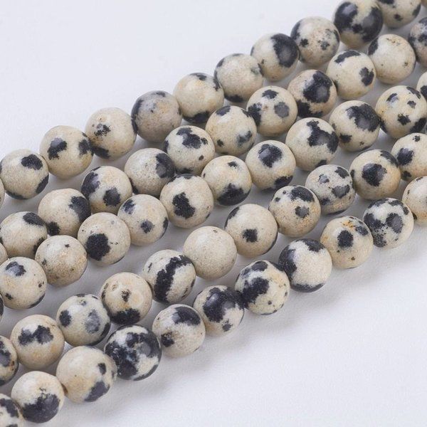 Natural Dalmation Jasper Beads 8mm, strand of 19 pieces
