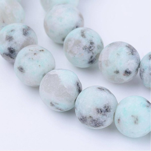 Natural Frosted Sesame Jasper Beads Mint 8mm, strand of 44 pieces