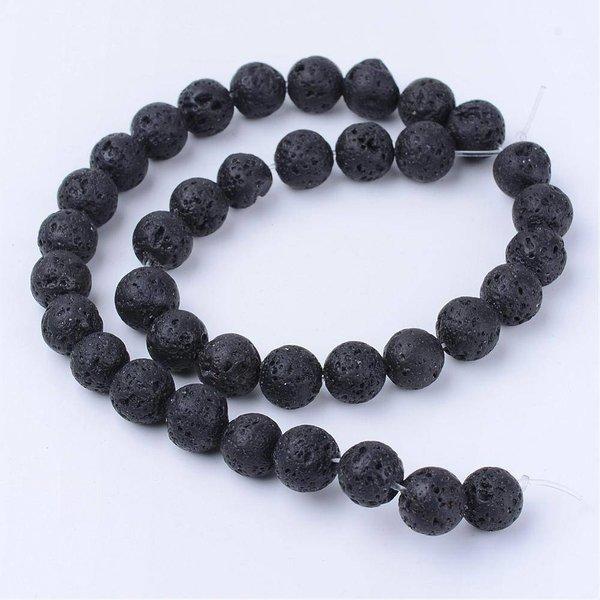 Natural Lavakralen Zwart 8mm, streng van 44 stuks