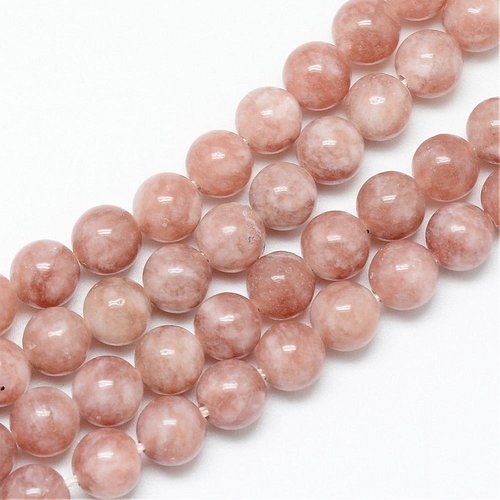 Natural Sunstone Beads 8mm, strand 40 pieces