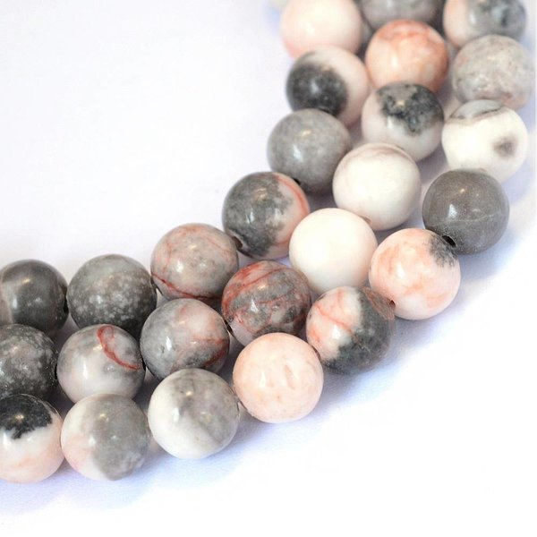 Natural Zebra Jasper Beads 8mm, strand of 44 pieces