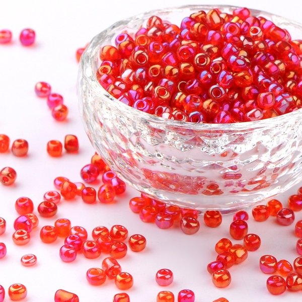 Seed Beads Red Shine 2mm, 7 grams