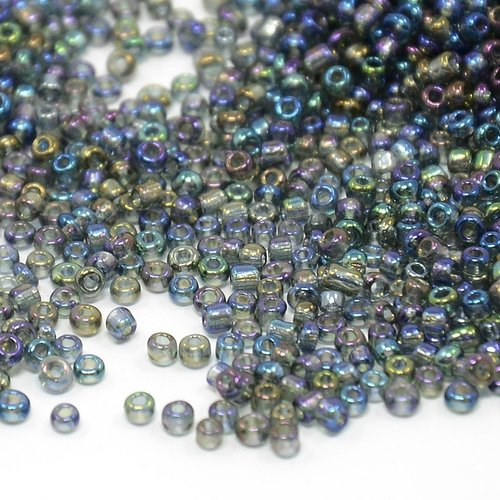 Rocailles Regenboog Grijs Shine 2mm, 7 gram