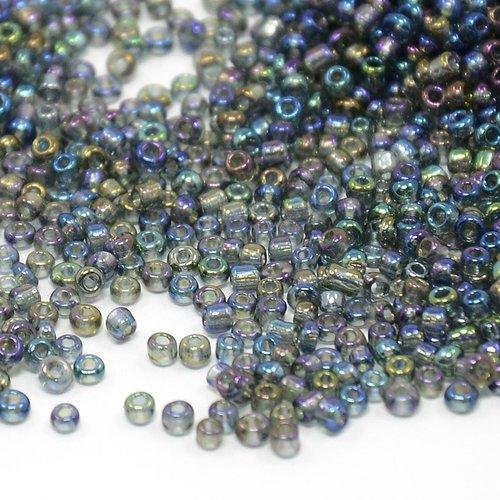 Seed Beads Rainbow Grey  Shine 2mm, 7 gram