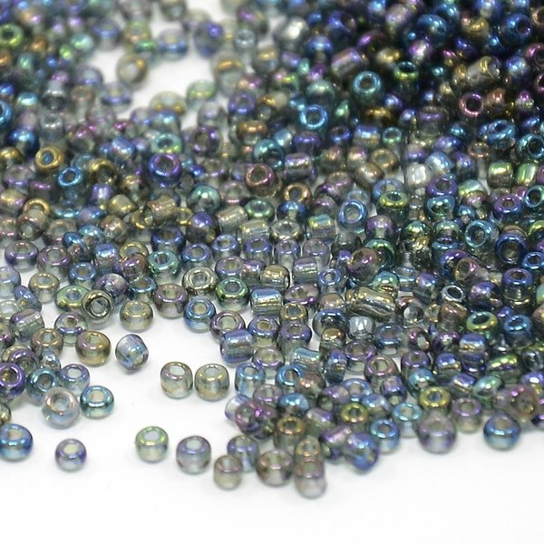 Seed Beads Rainbow Grey Shine 2mm, 7 gram