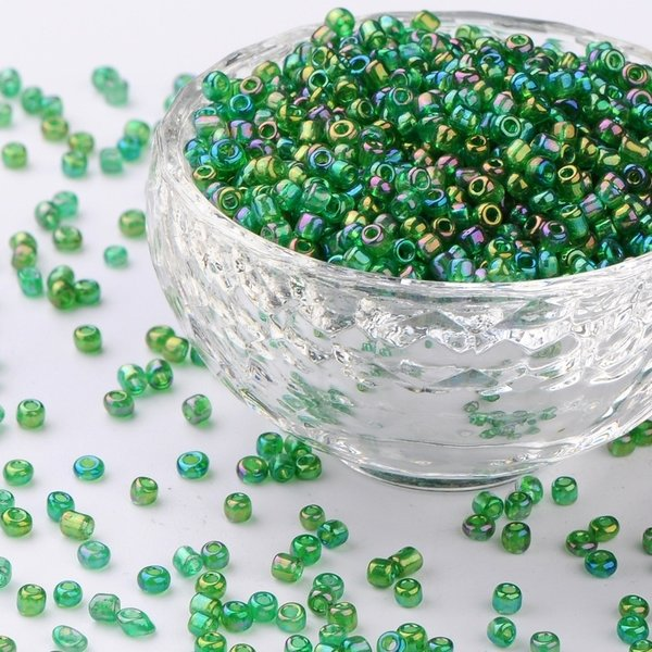 Seed Beads Green Shine 2mm, 7 grams