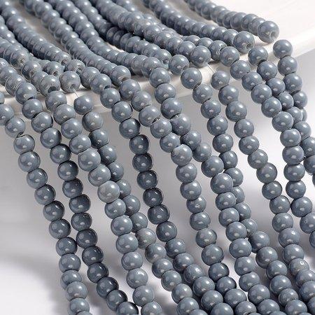100 stuks Glaskralen 4mm Grijs