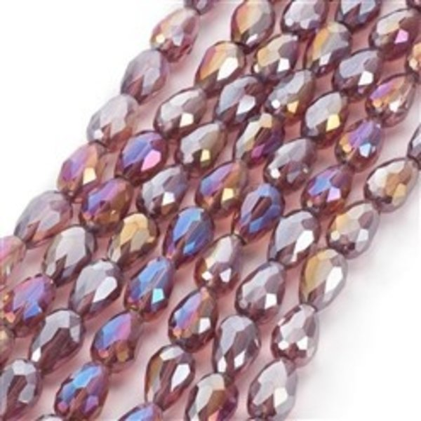 10 pieces Electroplate AB Dropbeads Shine 15x10mm Vintage Pink
