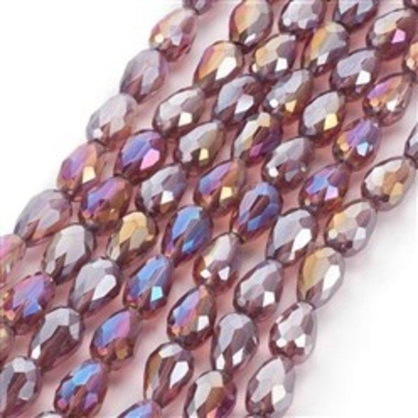 10 stuks Electroplate Druppelkralen Shine 15x10mm Vintage Roze