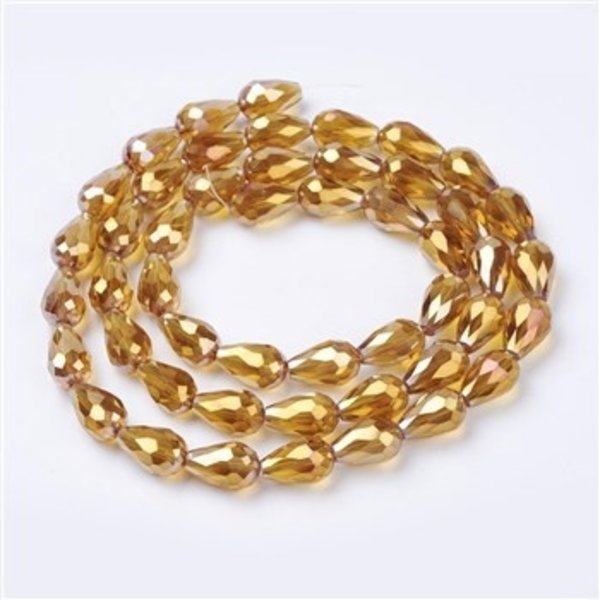 10 pieces Electroplate AB Dropbeads 15x10mm Golden Shine