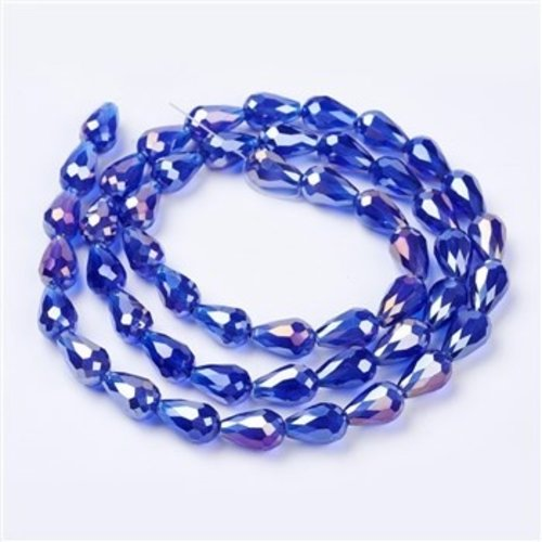 10 pieces Dropbeads Shine 15x10mm Cobalt Blue