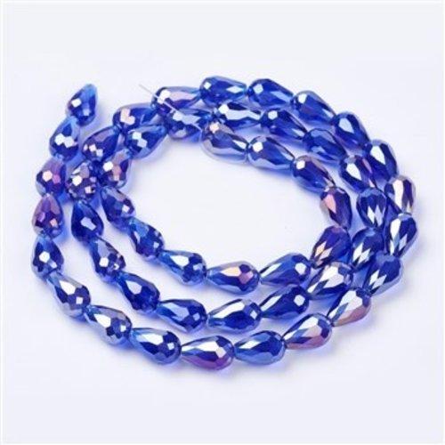 10 stuks Druppelkralen Shine 15x10mm Kobalt Blauw