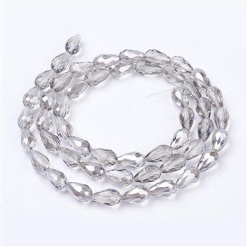 10 pieces Dropbeads Shine 15x10mm Grey