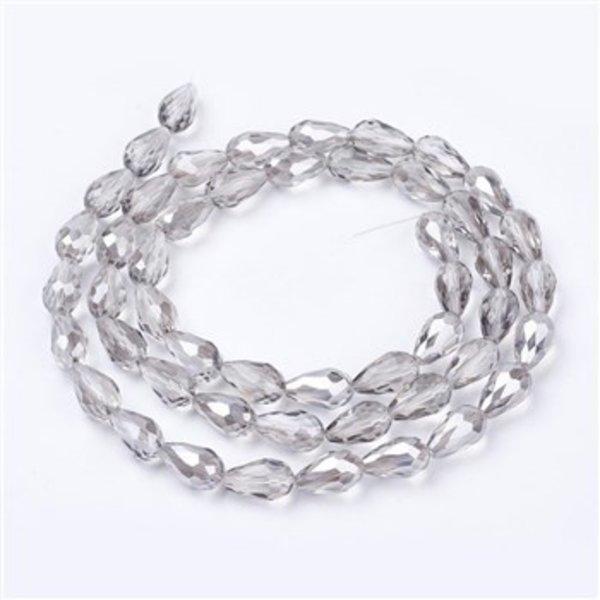 10 pieces Electroplate AB Dropbeads Shine 15x10mm Grey