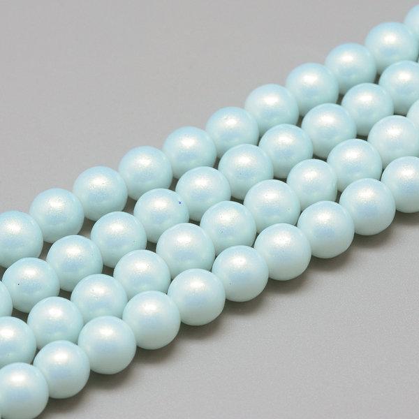 50 stuks Parelmoer Shine Glasparels 8mm Licht Blauw