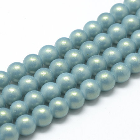 50 pieces Shiny Glasspearls 8mm Blue Gray