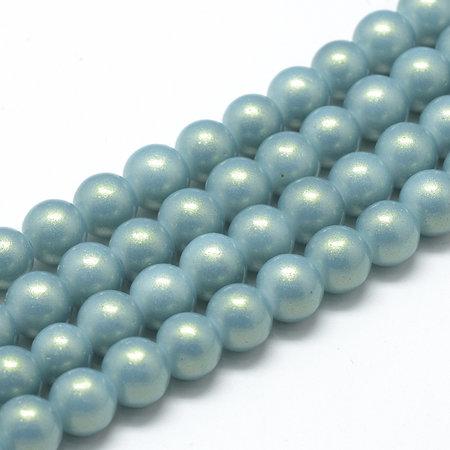 50 stuks Parelmoer Glasparels 8mm Grijs Blauw