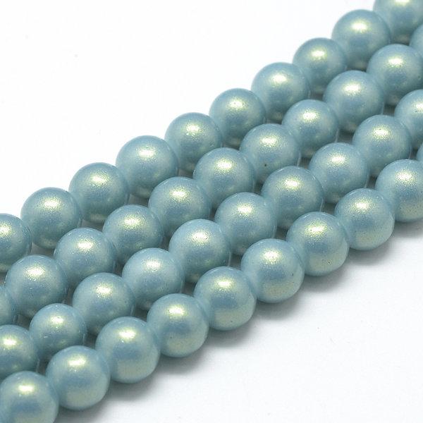50 stuks Parelmoer Shine Glasparels 8mm Grijs Blauw