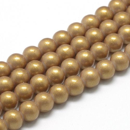 50 pieces Shiny Glasspearls 8mm Golden