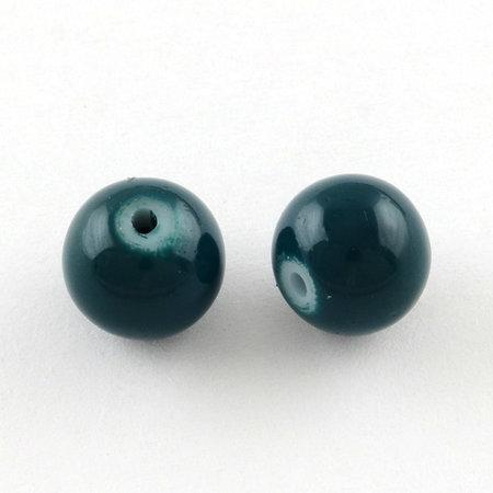 80 pieces Glassbeads 6mm Petrol