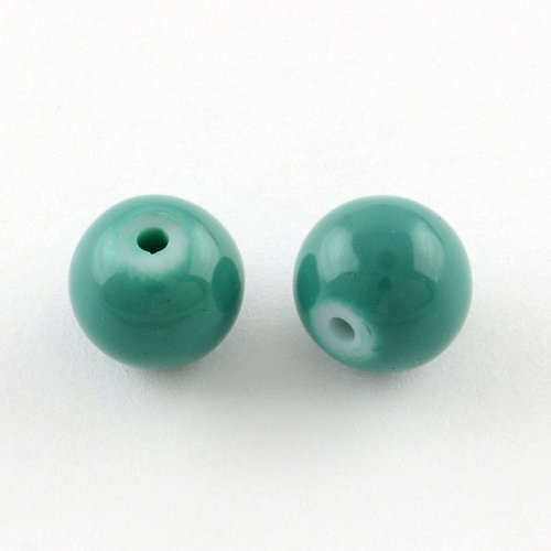 80 pieces Glassbeads 6mm SeaGreen