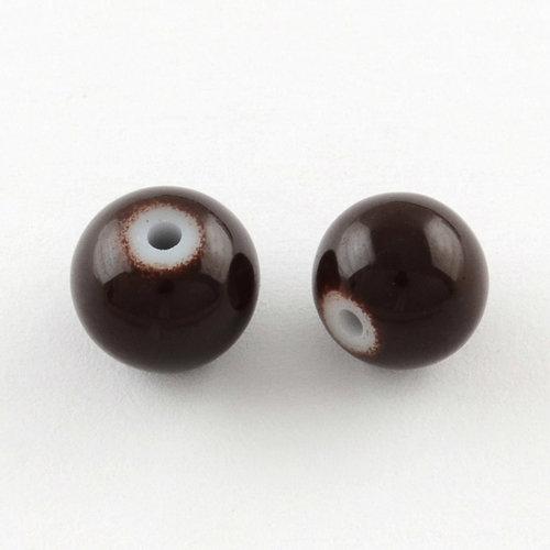 80 pieces Glassbeads 6mm Dark Brown