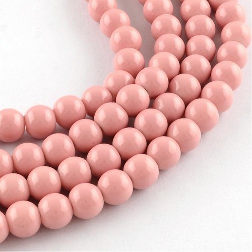 80 pieces Glassbeads 6mm Vintage Pink