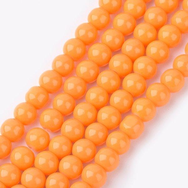 80 pieces Glassbeads 6mm Orange