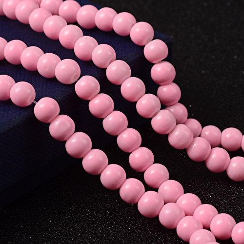 80 pieces Glassbeads 6mm Light Pink
