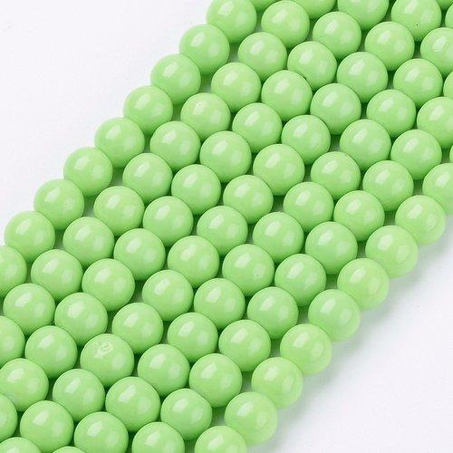 80 pieces Glassbeads 6mm Light Green