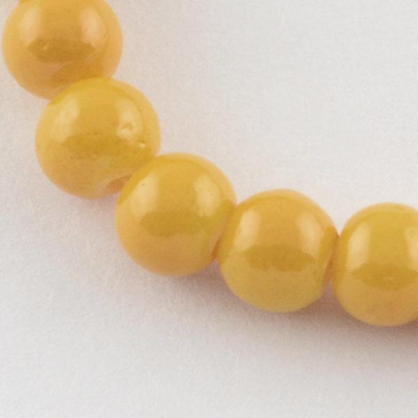 80 stuks Glaskralen 6mm Oker Geel