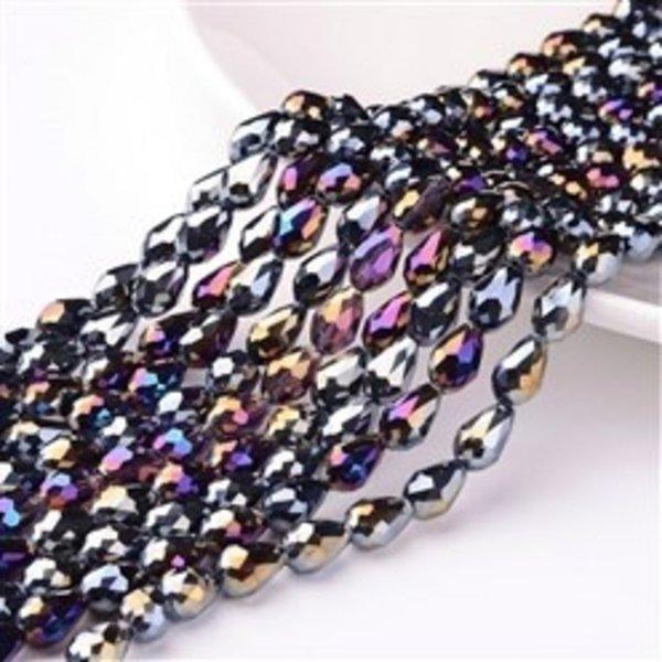 10 stuks Electroplate Druppelkralen Shine 15x10mm Petrol Zwart