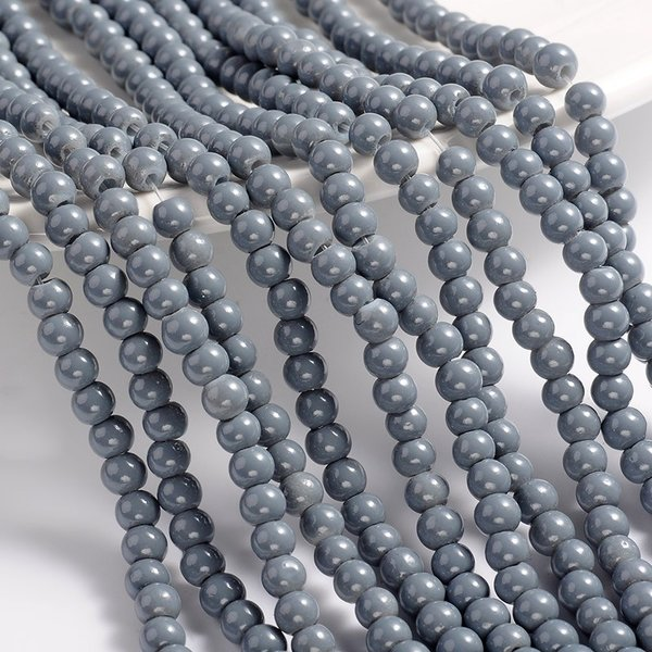80 pieces Glassbeads 6mm Gray