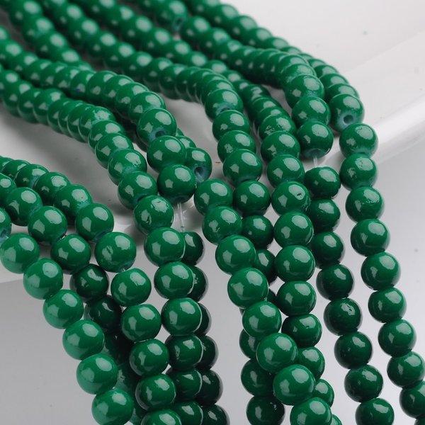 80 pieces Glassbeads 6mm Dark Green
