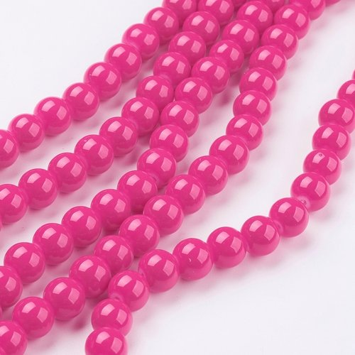 80 pieces Glassbeads 6mm Fuchsia Pink