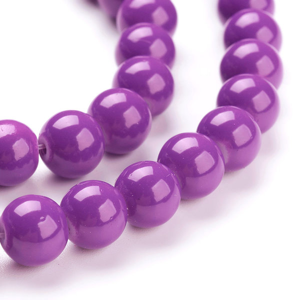 80 pieces Glassbeads 6mm Purple