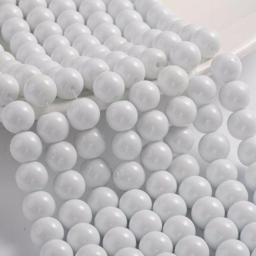80 pieces Glassbeads 6mm White