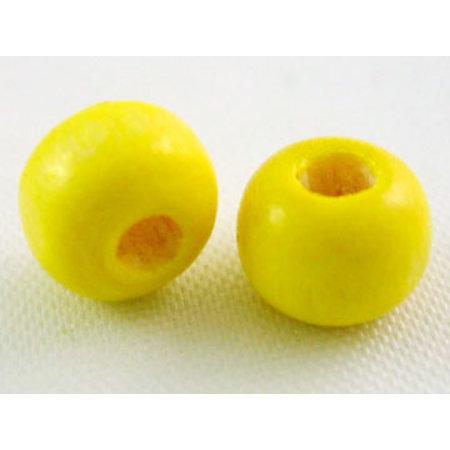 100 stuks Houten Kralen 6mm Geel