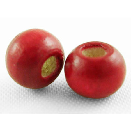 100 pieces Wooden Beads 6mm Red