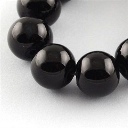 80 pieces Glassbeads 6mm Black
