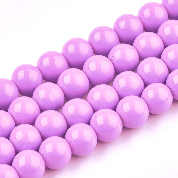 80 pieces Glassbeads 6mm Candy Pink