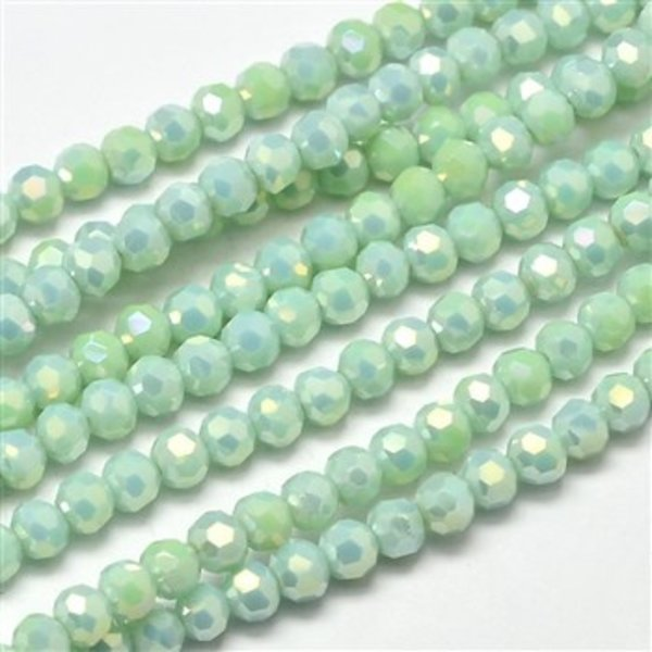 Round Faceted Beads Light Green Shine 4mm, 50 pieces