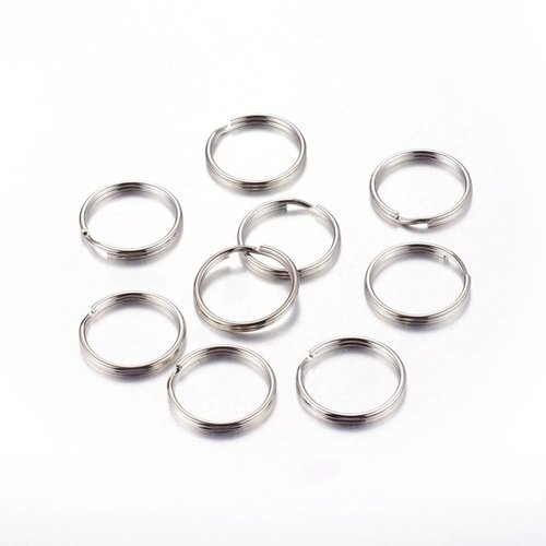 40 pieces Double Loop Ring Silver 6mm Nickel Free