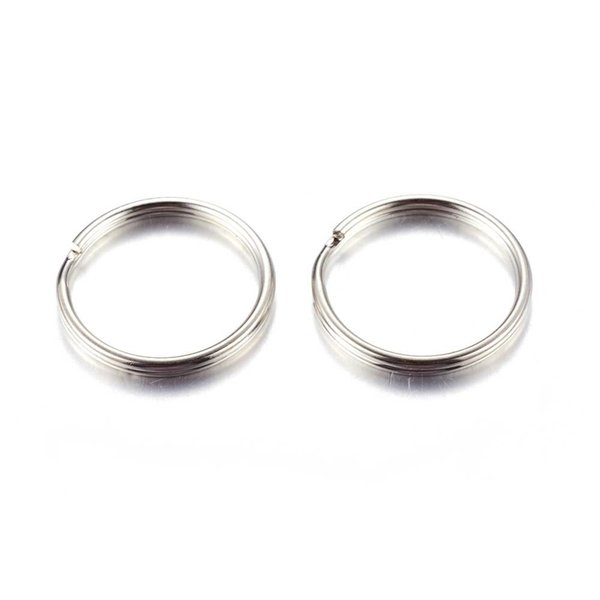 Splitring Double Loop Ring Silver 6mm Nickel Free, 40 pieces